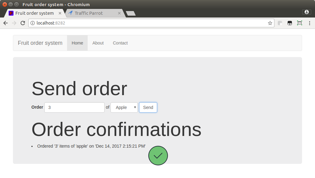 Order confirmation visible